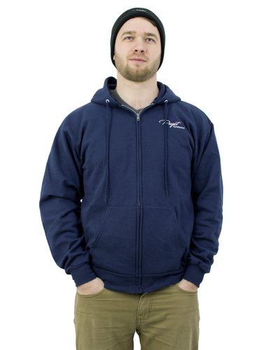 Puget Mens Navy Zip Up Hooded Sweatshirt (small) Main Picture