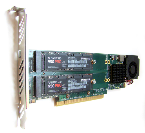 SQUID PCIe 3.0 x16 Carrier Board for 4x M.2 SSDs Main Picture