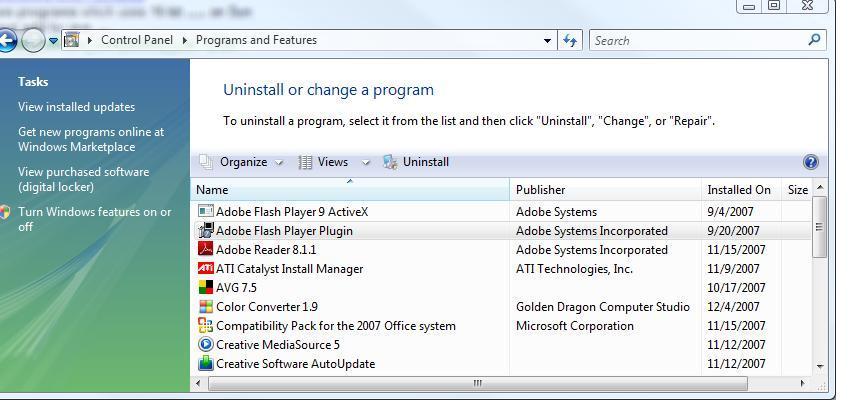 Adding and Removing Programs in Windows Vista