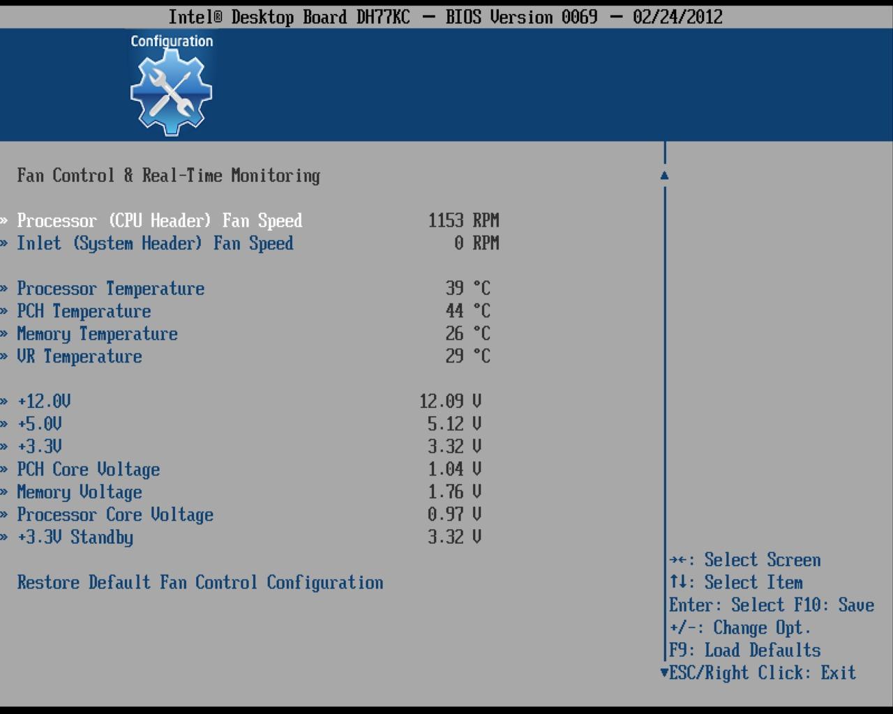 Intel DH77DF Fan Control