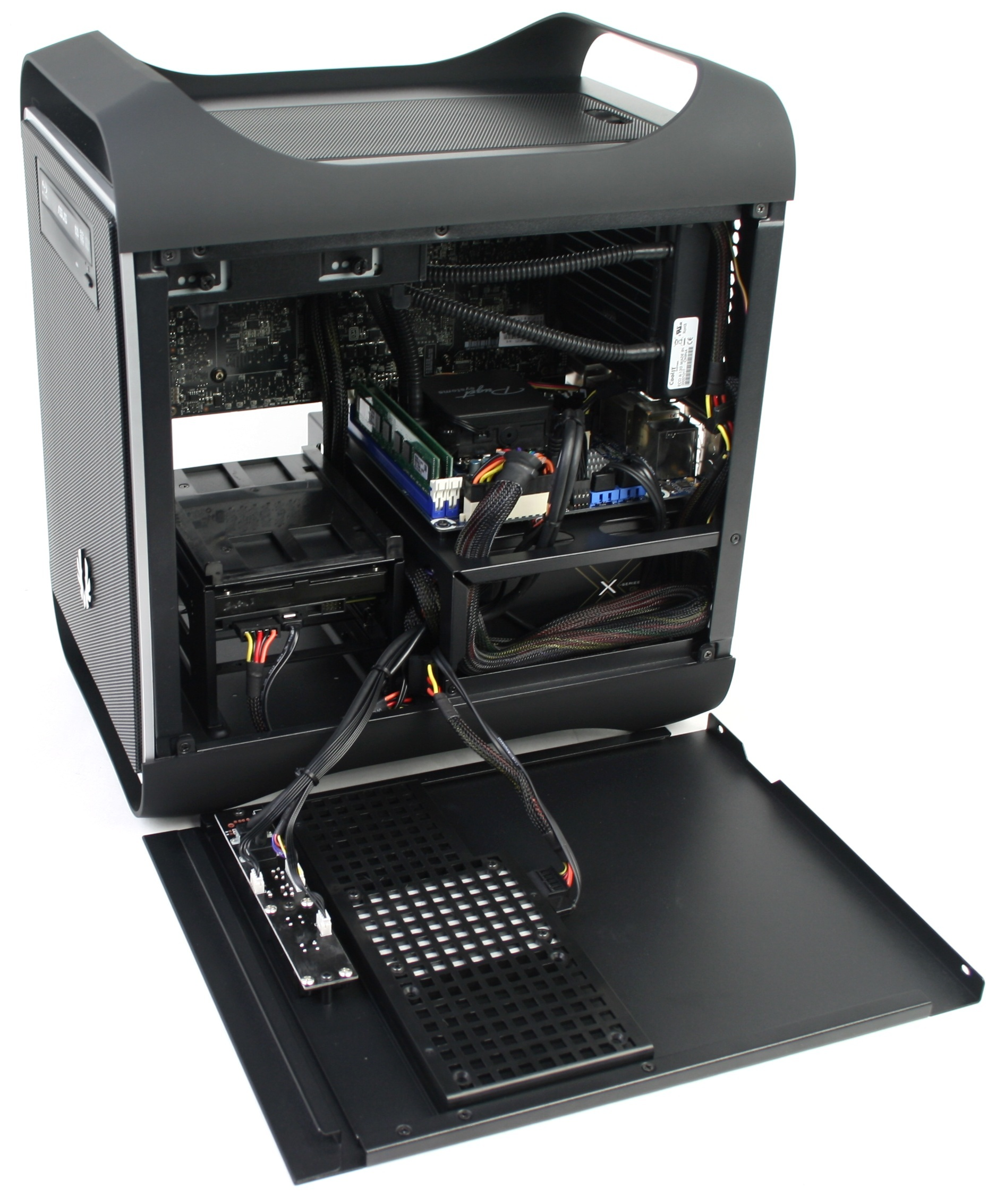 BitFenix Prodigy Assembled Motherboard and CPU Cooler Left Side
