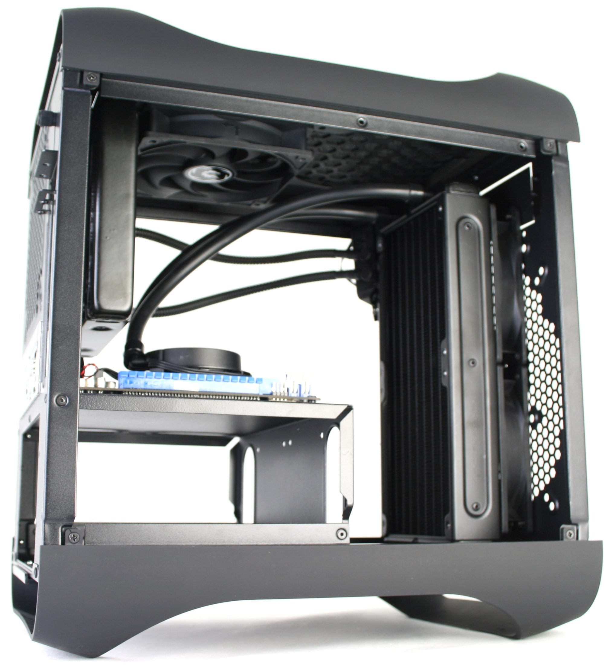 BitFenix Prodigy Liquid Cooling Top Rear Radiator Angle