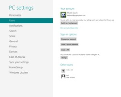 Windows 8 LiveID settings