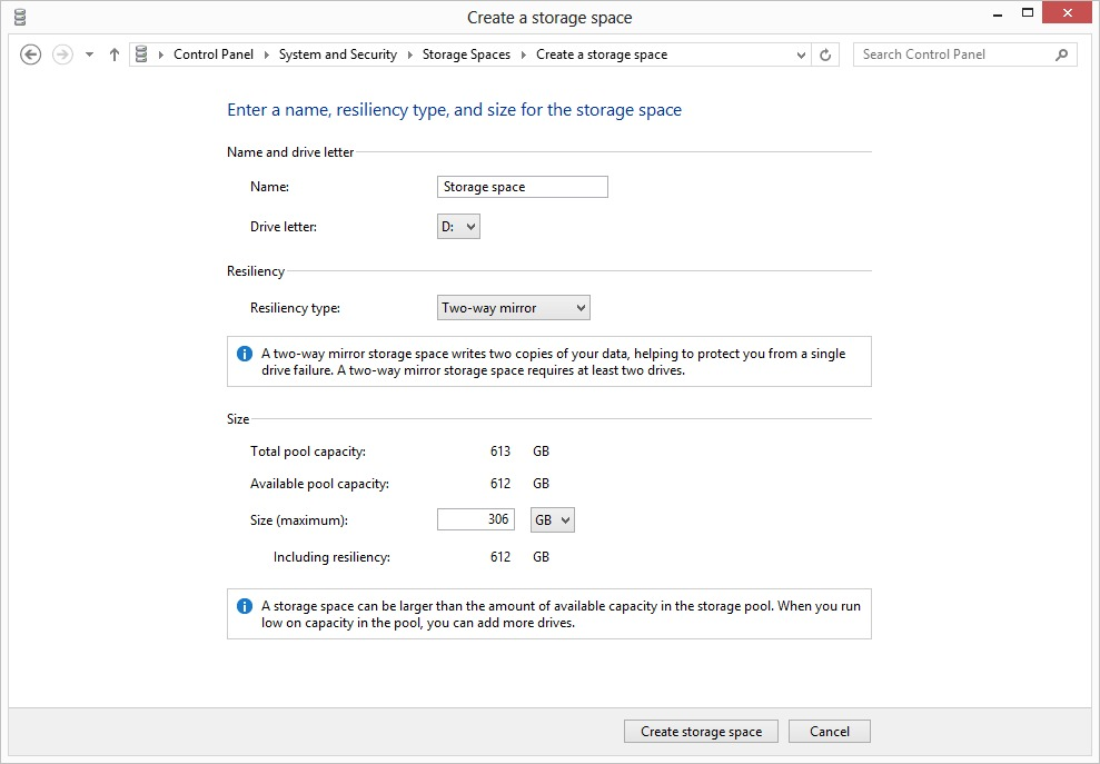 Windows 8 Storage Spaces Settings