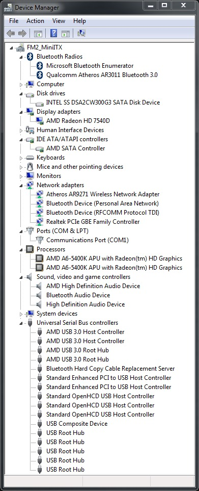 MSI FM2-A75IA-E53 device manager
