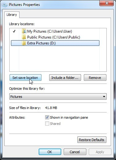 Set Default Save Location for WIndows 7 Windows 8 Library