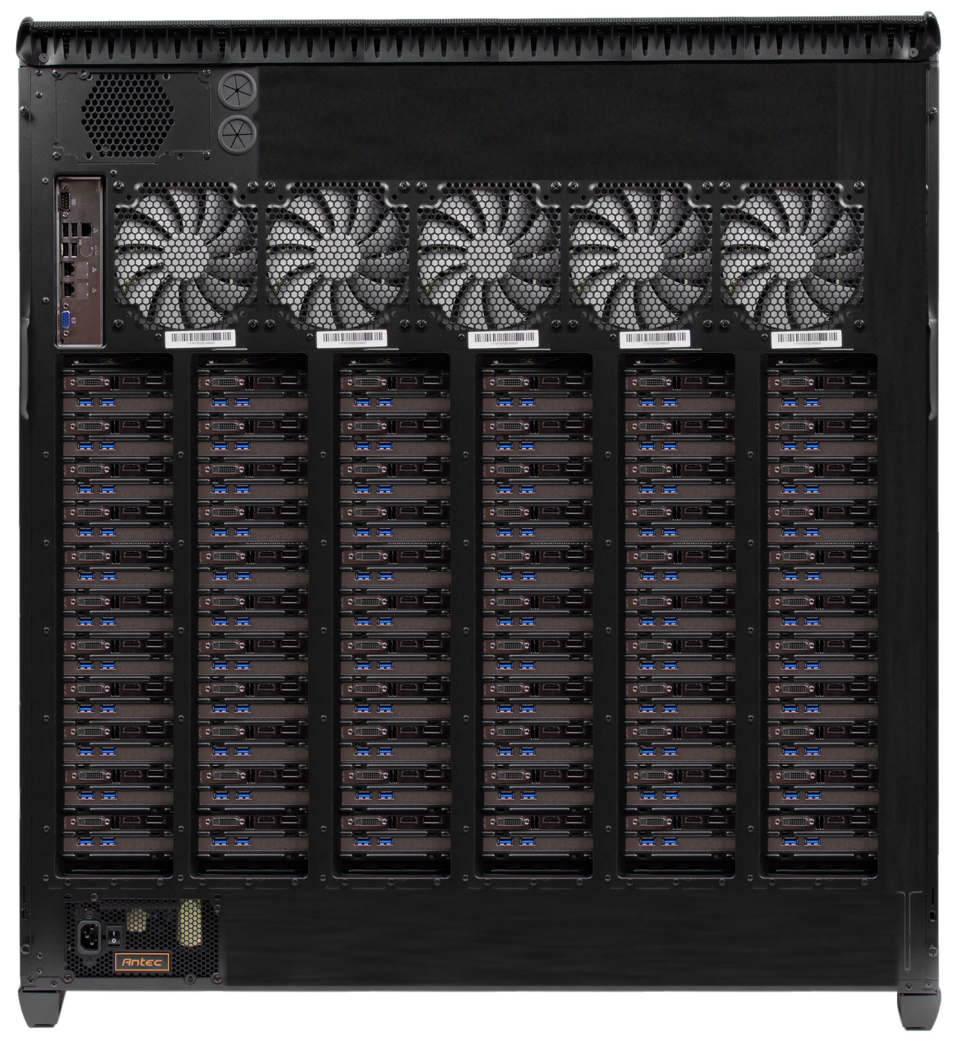 Theroretical quad Xeon PC running 66 video cards and USB controllers