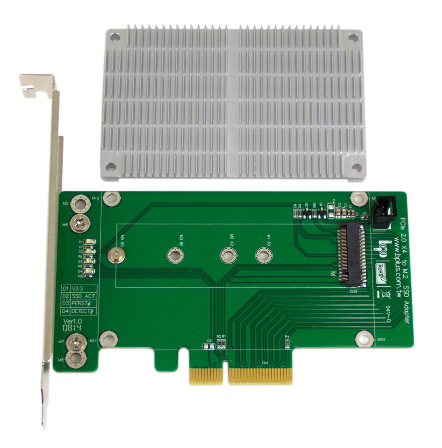 M.2 to PCIe x4 SSD adapter w/ heatsink
