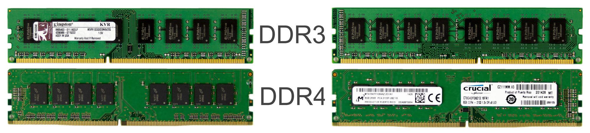 DDR3 versus DDR4 size
