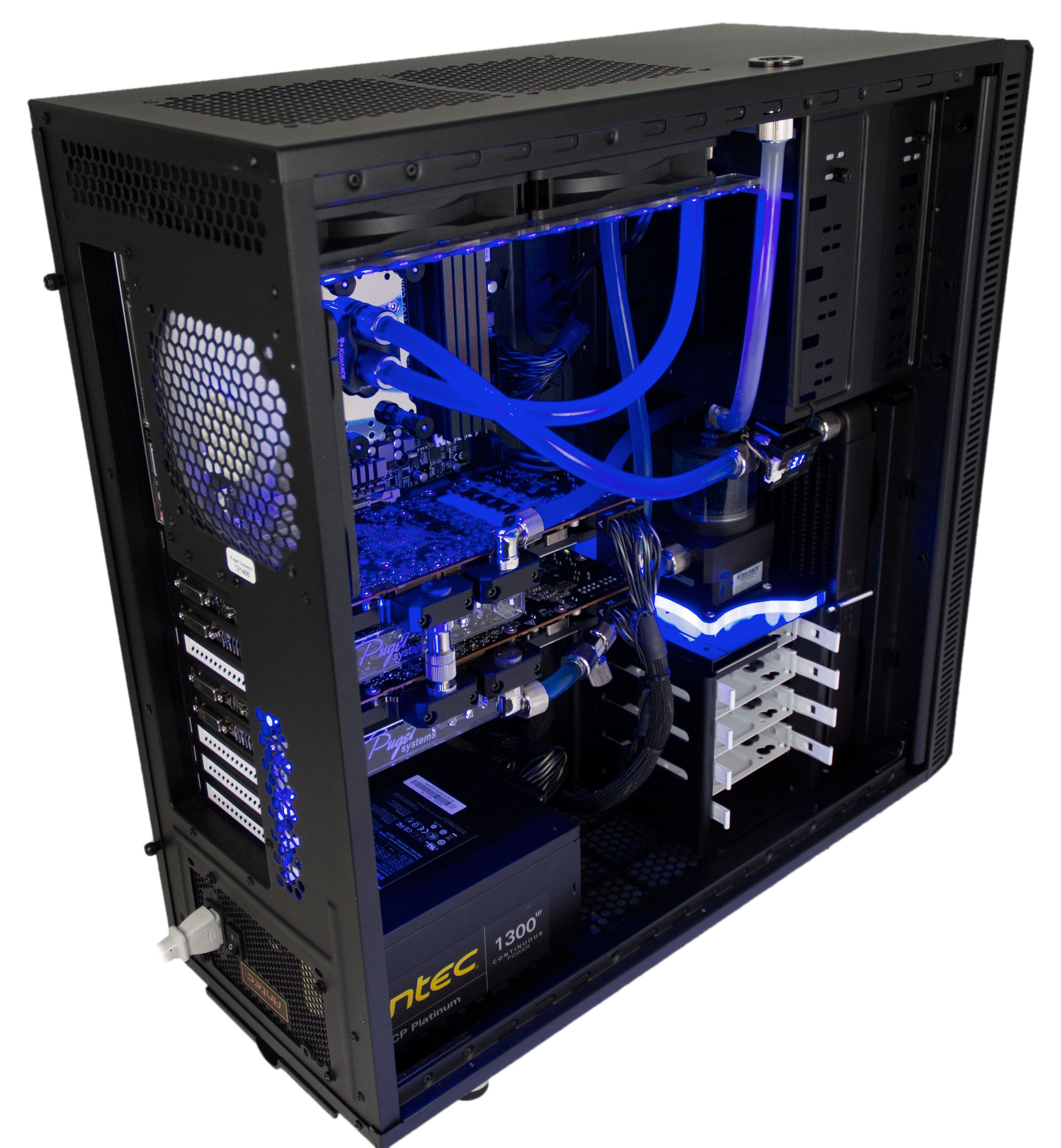 Full liquid-cooling in a Puget Deluge XL system