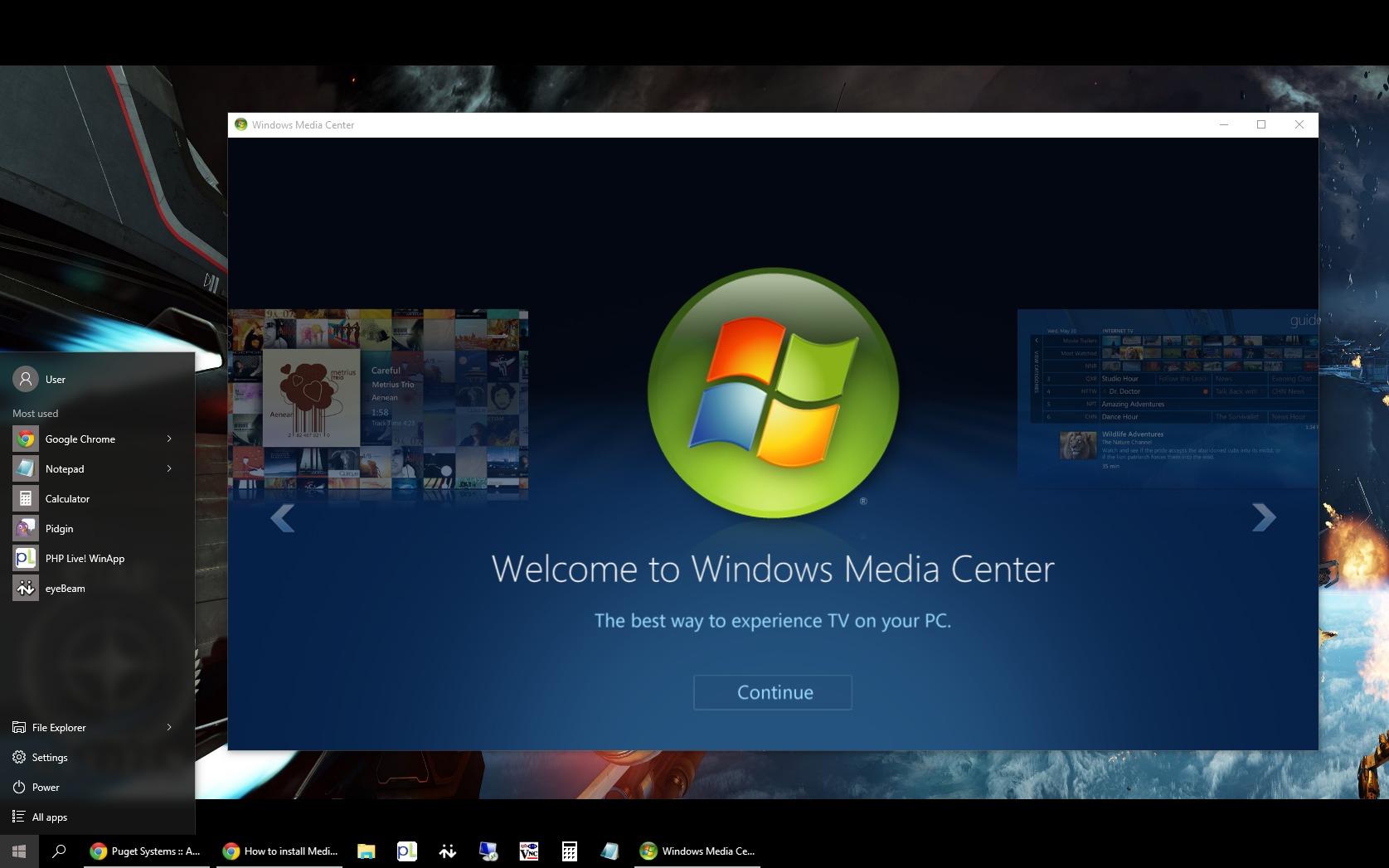 Windows Media Center running on Windows 10