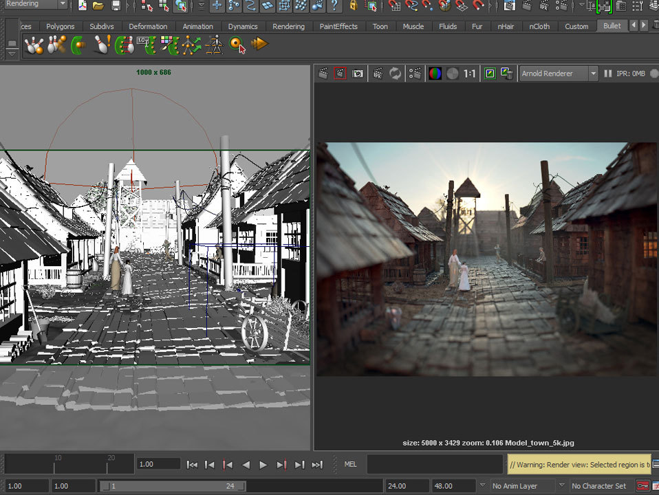 Village render scene for Arnold from Solid Angle