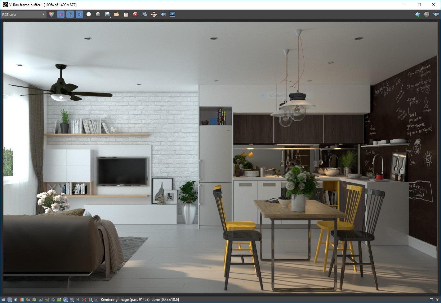 Screenshot of finished render