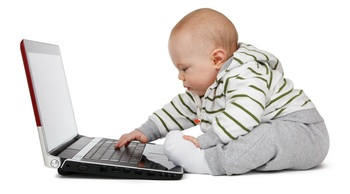 Young child using a computer