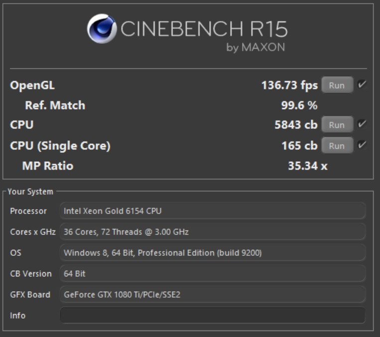 Example Cinebench Results