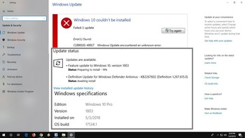 Failing to Update to Windows build 1803?