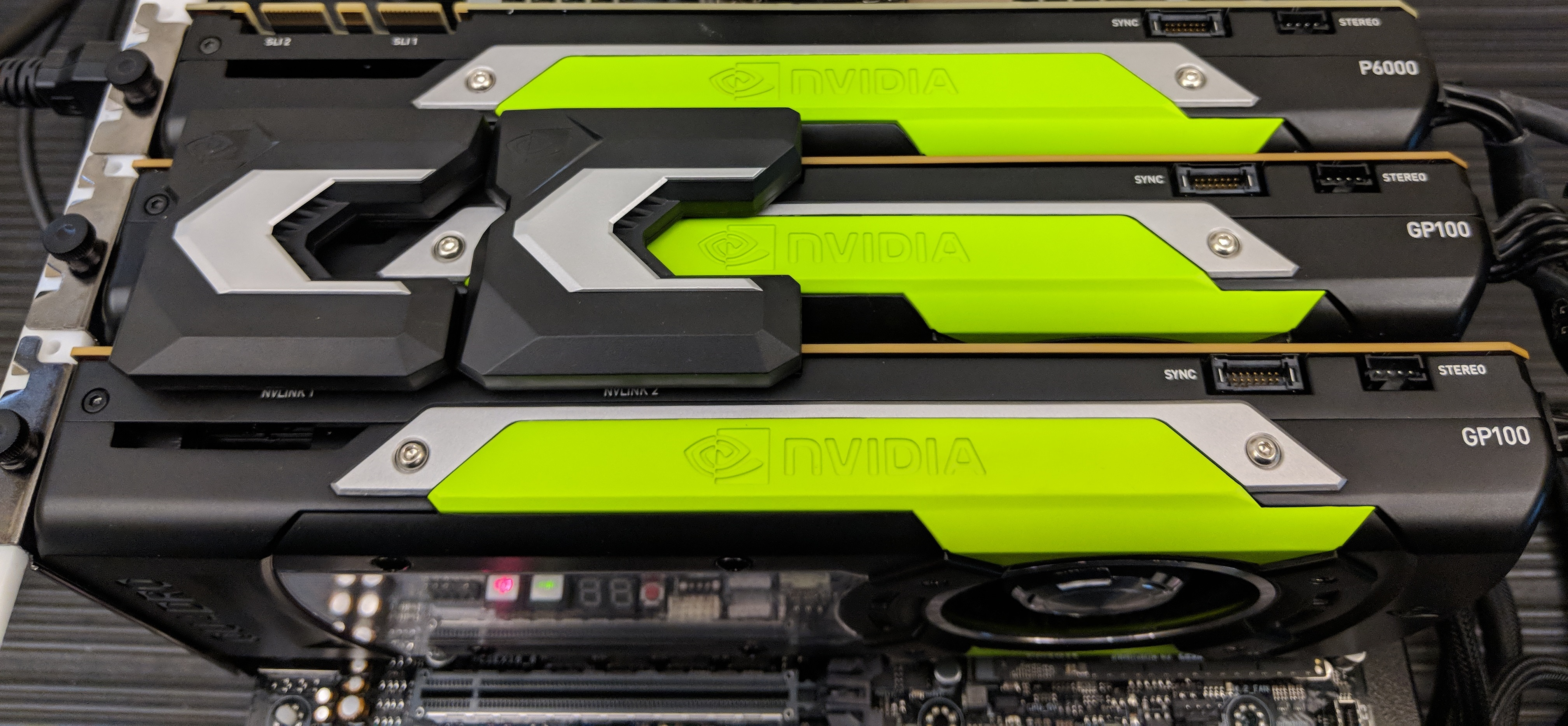 Dual NVIDIA Quadro GP100 Cards with Dual Quadro NVLink Bridges Installed
