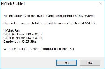 NVLinkTest.exe NVLink enabled result screen