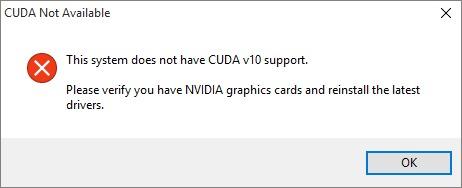 NVLinkTest.exe CUDA not available error screen