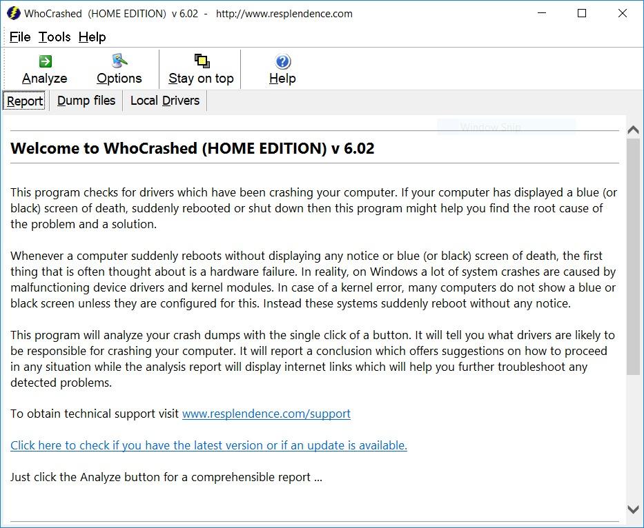 WhoCrahsed Home Edition Screenshot