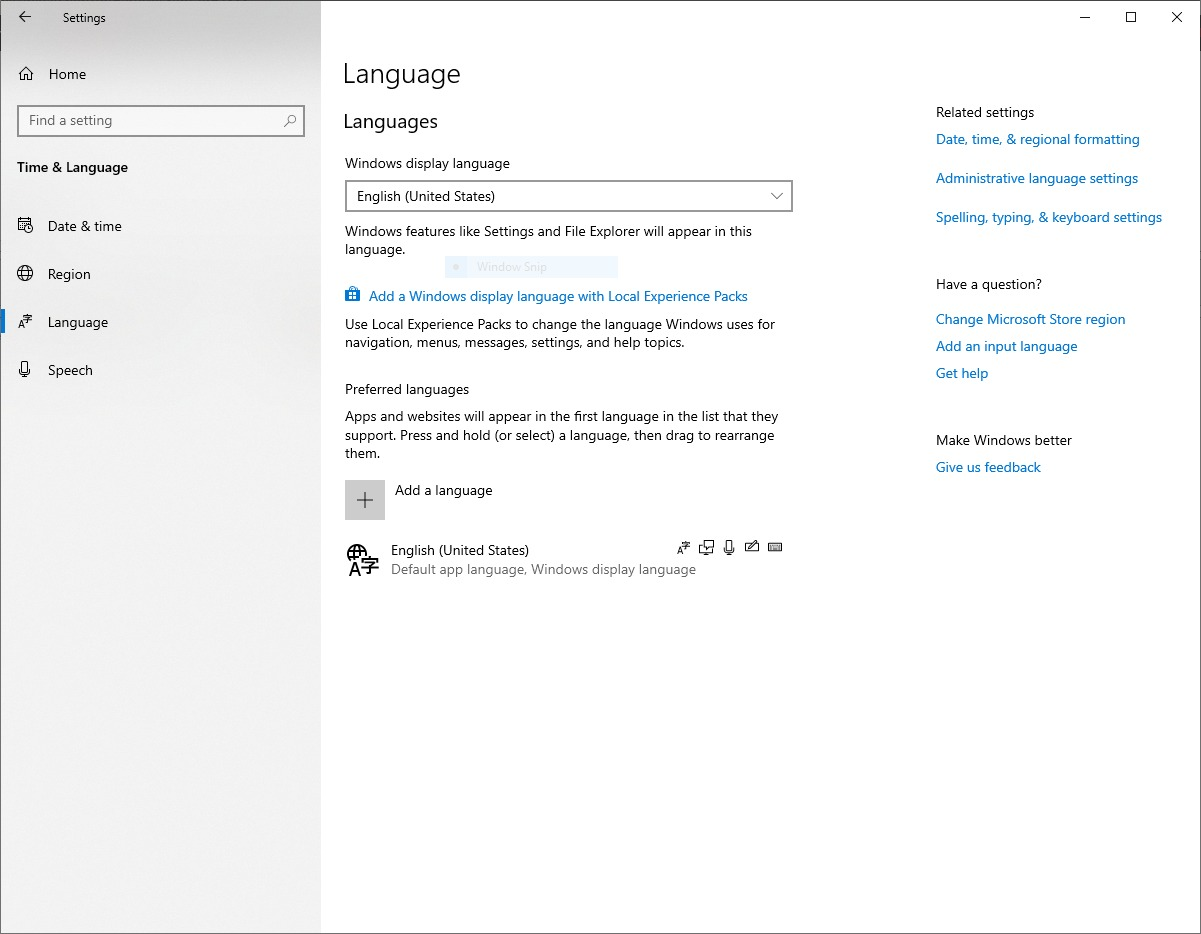Windows 10 Language Control Panel