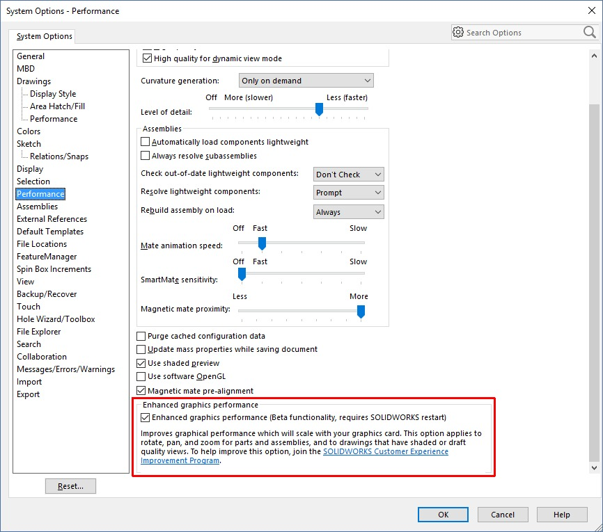 SOLIDWORKS 2019 -System Options - Performance - Enhanced Graphics Performance Mode Checkbox