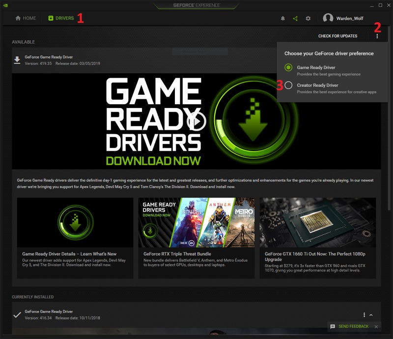How to select NVIDIA Creator Ready Drivers for GeForce and Titan video cards in the GeForce Experience application