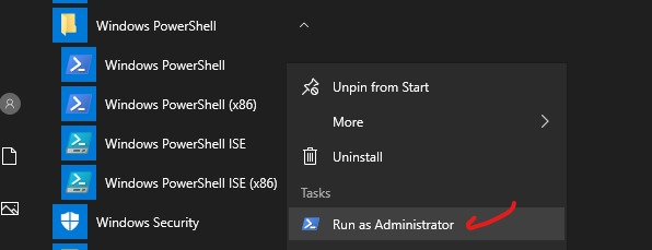 powershell as admin