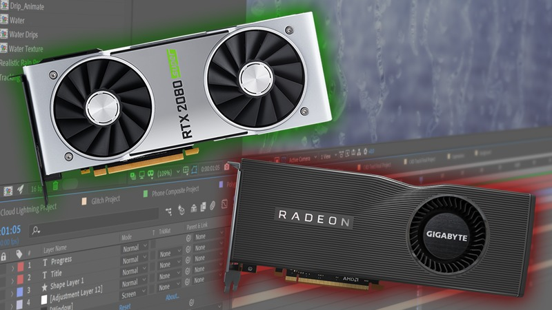 NVIDIA GeForce SUPER vs AMD Radeon RX 5700 XT in After Effects