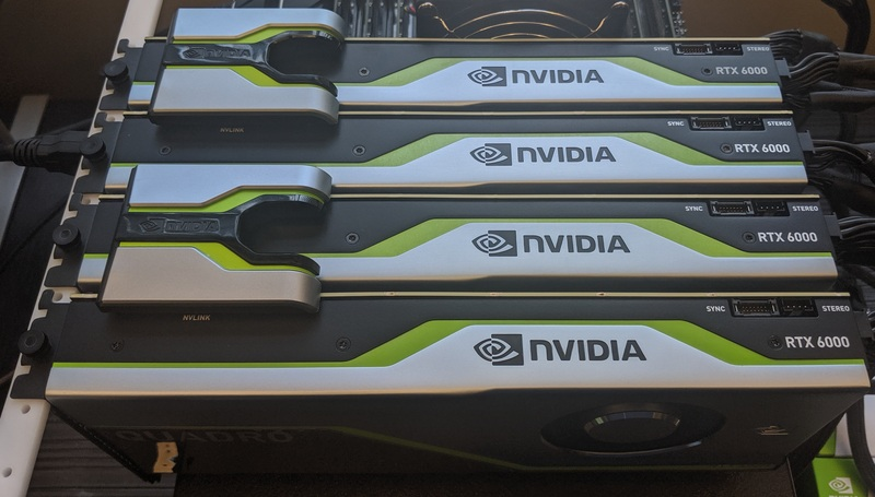 Four NVIDIA Quadro RTX 6000 video cards in two NVLink pairs