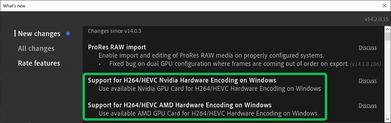 Premiere Pro (BETA) - H.264 NVIDIA and AMD Hardware Encoding