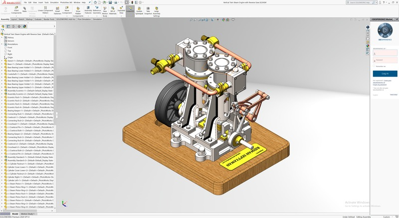 Screenshot of SOLIDWORKS 2020