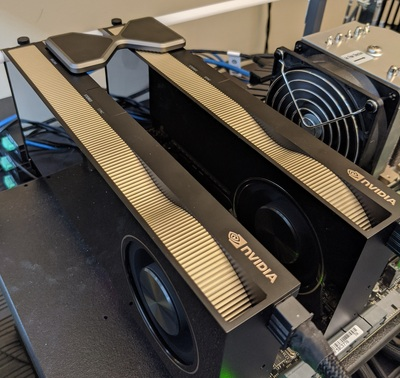 Dual NVIDIA RTX A6000 Video Cards Connected by a GeForce RTX 3090 4-slot NVLink Bridge