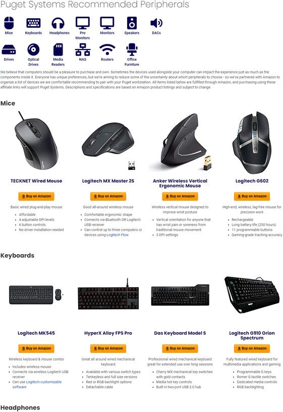 Puget Systems Recommended Third Party Peripherals Page Screenshot