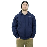 Puget Mens Navy Zip Up Hooded Sweatshirt (medium)
