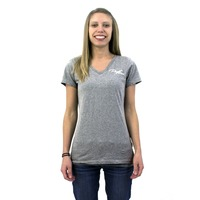 Puget Womens Grey V-Neck T-Shirt (medium)